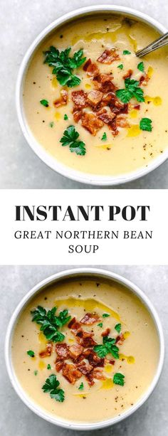This Instant Pot Great Northern Bean Soup is an easy white bean soup recipe that doesn't required soaking the beans. It's a creamy white bean soup that is made with simple ingredients: dried Great Northern Beans, broth, onions, garlic and rosemary spring. White Bean Recipes, Bean Soup Recipes, Healthy Soup Recipes, Beans Recipes, Recipes With Dried Beans, Crockpot Recipes, Healthy Foods, Northern White Bean Recipe, Recipe With Great Northern Beans