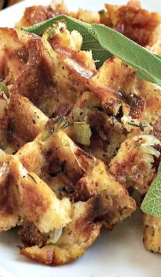 Stuffles - what are they, you ask? A scoop of stuffing heated on your waffle iron makes a personal-sized portion with receptacles to hold gravy! Crispy on the outside, tender on the inside...genius!! (Cheater's Tip: use StoveTop)