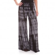 Vocal Womens Wide-Leg Tie-Dyed Pants Black