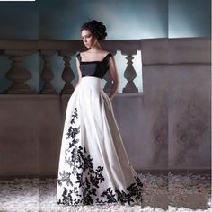 A Line Floor Length Black and White Evening Gowns