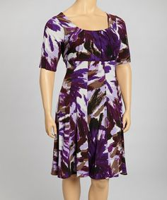 Take a look at this Violet & Brown Dress - Plus by London Times on #zulily today!
