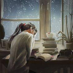 Reading/books/woman/rain/snow/window/night