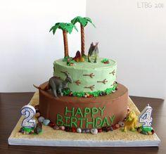 A pretty easy dinosaur birthday cake. Make the edible rock candy & use plastic dinosaurs.