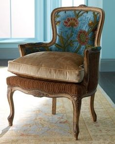 Love the vintage style fabric paired with velvet and cordoroy