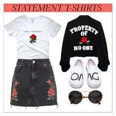 """""""Statement T-Shirt: Be Yourself"""" by keepfashion92 ❤ liked on Polyvore featuring Topshop, Vans and Prada"""