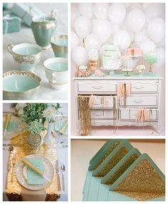 Mint Gold Wedding Inspiration by rosalyn Wedding Themes, Wedding Colors, Wedding Styles, Wedding Decorations, Stage Decorations, Wedding Ideas, Wedding Stuff, Mint Gold Weddings, Wedding Mint Green