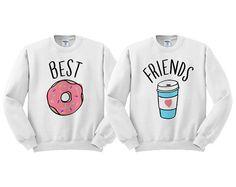 Best Friends Donut And Coffee Duo Sweatshirt - shirt for best friend, bestie shirt, bff shirt, junk food clothing, donut care Bff Shirts, Best Friend Sweatshirts, Best Friend T Shirts, Friends Sweatshirt, Friends Shirts, Matching Outfits Best Friend, Best Friend Outfits, Best Friend Clothes, Bff Clothes
