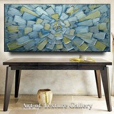 60 x 30 HUGE Original Abstract Texture Modern Metallic Beige White Blue Gray Silver Carved Sculpture Knife Oil Painting by Je Hlobik. $268.99, via Etsy.