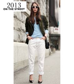 Street Style  A stylish civilian takes a laidback approach to the trend in a pair of rolled slouchy pants.