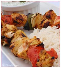 Chicken Skewers with Mint and Cucumber Yogurt Dip, or you can have any type of dip of your liking. What's great about kabobs, each person can build their own to what they would like for veggies~Have a Kabob Bar one night for fun :)