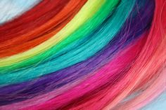 Rainbow Human Hair Extensions, SET OF 4, Colored Hair Extension Clip, Hair Wefts, Clip in Hair, Tie Dye Hair Extensions, Dip Dyed Hair. $57.00, via Etsy.    Kinda want some colour in my hair