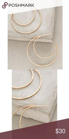 """Anthropologie Curved Crescent Hoops Anthropologie Curved Crescent Hoops. Gold toned metal. Light weight. 1.5"""" diameter. Anthropologie Jewelry Earrings"""