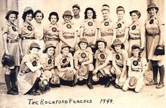 The actual 1944 Rockford Peaches women's baseball team that inspired A League of Their Own.
