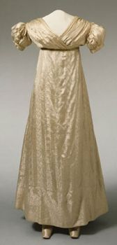 Wedding dress, American, c 1815-20, white satin figured with floral stripe. Philadelphia Museum of Art