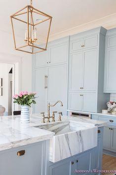New Kitchen Marble Blue Cabinets Ideas White Kitchen Decor, Home Decor Kitchen, Interior Design Kitchen, New Kitchen, Kitchen Ideas, Kitchen Inspiration, Kitchen Modern, Awesome Kitchen, Country Kitchen
