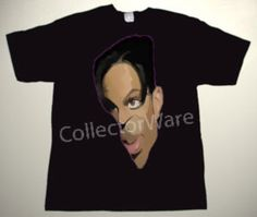 PRINCE cartoon 3 CUSTOM ART UNIQUE T-SHIRT   Each T-shirt is individually hand-painted, a true and unique work of art indeed!  To order this, or design your own custom T-shirt, please contact us at info@collectorware.com, or visit http://www.collectorware.com/tees-prince.htm