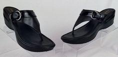 COLE HAAN NIKE AIR Women's Leather Wedge Flip Flops 9.5 medium EXCELLENT #ColeHaan #FlipFlops