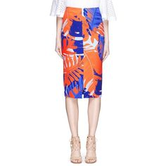 Nicholas Palm print front split pencil skirt ($315) ❤ liked on Polyvore featuring skirts, neon orange skirt, orange skirt, knee length pencil skirt, neon skirt and knee high skirts