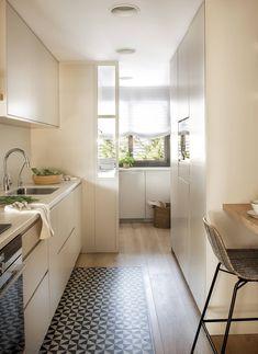 Open Plan Kitchen Living Room, Condo Kitchen, Kitchen Interior, New Kitchen, Kitchen Decor, Kitchen Design, Kitchen Cabinets, Rustic Basement Bar, Casa Top