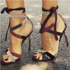 Ericdress Color Block Open Toe Lace-Up Cross Strap Stiletto Sandals