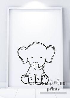 Baby Elephant Print Nursery Decor Elephant PRINTABLE Safari