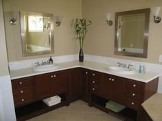 L shaped bathroom vanity - this is more about the concept than the actual design which is not really my style at all
