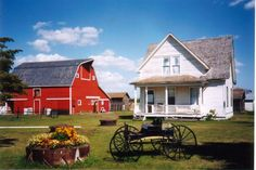 Old Red Barn & Weathered Farmhouse...prim buggy.