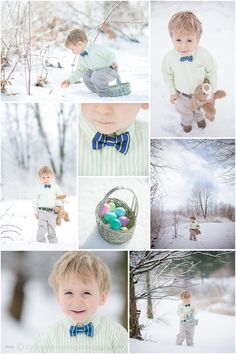 Toddler Easter Photos in Snow Bow tie, Bunny, Eggs Three Winks Photography, Custom Children's Portraiture by Jill Tomb » ...because in Three Winks they're grown