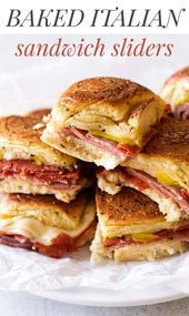 Easy Baked Italian Slider Sandwiches These Italian sandwich sliders have three kinds of salami with melted provolone and a tangy kick from banana peppers. They're easy to assemble and bake in the oven until they're toasty-hot! Lunch Recipes, Appetizer Recipes, Cooking Recipes, Cheese Appetizers, Appetizer Dinner, Recipes Dinner, Easter Recipes, Salami Appetizer, Healthy Sandwich Recipes
