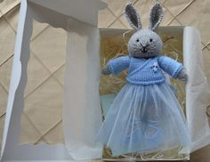 Hand Knit Easter Bunny Girl Soft Toy Knitted Little Easter