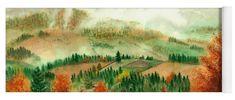 Transylvanian Autumn Yoga Mat featuring the painting Transylvanian Autumn by Olivia C