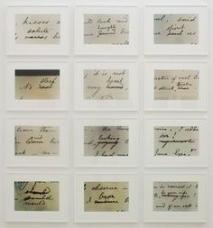 Brontean Abstracts by Cornelia Parker, 2006  ( deletions from the original manuscripts of Jane Eyre)