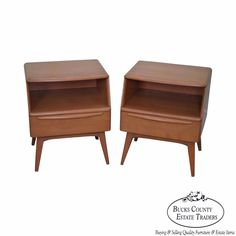 Heywood Wakefield Champagne Mid Century Modern Maple Pair of Nightstands (A) #MidCenturyModern