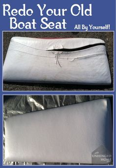 Have a nasty old seat on your boat that needs to be recovered? Learn how to do… Boat Seat Covers, Pontoon Boat Seats, Party Barge, Boat Cleaning, Boating Tips, Boating Fun, Boat Upholstery, Boat Restoration, Restoration Hardware
