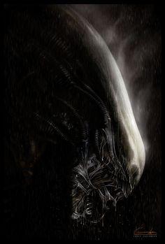 Xenomorph (from Alien(s)) - by Casey Callender Arte Alien, Alien Art, Xenomorph, Hr Giger Alien, Giger Art, Alien Isolation, Alien Covenant, Alien Concept, Aliens Movie