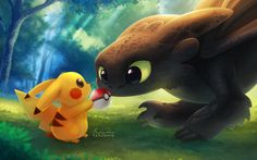I couldn't help to pin this it's so cute Pikachu and Toothless
