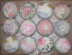Isa Creative Musings: Up-Cycled Vintage Linen and Tart Tins Pin Cushions