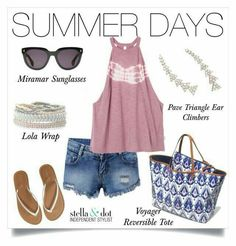 Summer days. Miramar sunglasses, pave triangle ear climbers, Lola wrap, voyager reversible tote