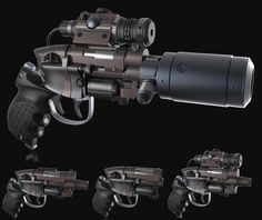 PKD Enforcer Highpoly, Rajeev Menon on ArtStation at… Sci Fi Weapons, Fantasy Weapons, Weapons Guns, Guns And Ammo, Robot Concept Art, Weapon Concept Art, Blade Runner Blaster, Hand Cannon, Future Weapons