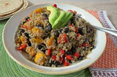 Black Beans and Butternut Squash Quinoa - A healthy side dish made with roasted butternut squash, black beans and quinoa.