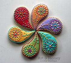 henna inspired paisley flower cookies
