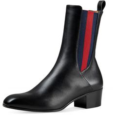 Gucci Karen Web Ankle Boot (13.369.660 IDR) ❤ liked on Polyvore featuring shoes, boots, ankle booties, black, shoes boots mid-calf, black leather bootie, leather booties, black boots, short black boots and black leather ankle booties