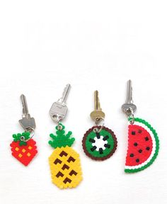 DIY hama perler beads fruit keyring pineapple watermelon kiwi strawberry kawaii gift craft- My kids love making these bead crafts. Perler Bead Designs, Perler Bead Art, Perler Bead Emoji, Diy Perler Beads, Hama Beads Patterns, Beading Patterns, Craft Day, Craft Gifts, Diy Gifts