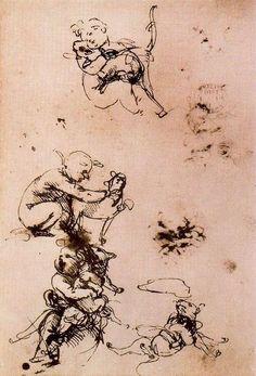 """""""Studio di un bambino con un gatto"""", inchiostro di Leonardo Da Vinci (1452-1519, Italy)"""