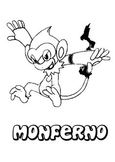 Monferno Pokemon Coloring Page More FIre Sheets On Hellokids