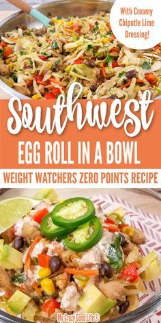 egg meals This Weight Watchers Egg Roll in a Bowl recipe has zero Blue Plan Points and is a delicious dinner packed full of flavor! This easy meal with creamy chipotle lime dressing is low c Weight Watchers Meal Plans, Weight Watcher Dinners, Weight Watchers Diet, Weight Watchers Cabbage Recipe, Weight Watchers Dressing, Weight Watchers Vegetarian, Weight Watchers Lunches, Ww Recipes, Low Calorie Recipes