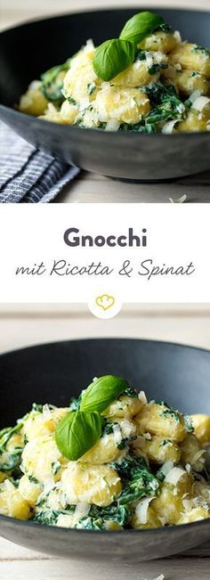 Holidays for the palate: The small gnocchi bathe in a creamy ricotta sauce and fresh spinach and lots of basil. Holidays for the palate: The small gnocchi bathe in a creamy ricotta sauce and fresh spinach and lots of basil. Gnocchi Ricotta, Spinach Ricotta, Gnocchi Sauce, Gnocchi Pasta, Parmesan Sauce, Veggie Recipes, Vegetarian Recipes, Dinner Recipes, Vegetarian Meals