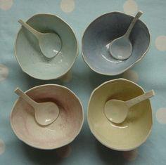 Porcelain Salt Bowl - Ceramics, Pottery £12.00 love these colors!