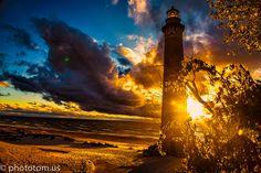 Light house in sun set