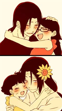 Uncle Itachi with Sareda and Uncle Neji with his little Himawari from Naruto. A fate that was not meant to be, but a sweet one none the less. Naruto Shippuden Sasuke, Itachi Uchiha, Anime Naruto, Naruto Comic, Hinata, Naruto Cute, Naruto Sasuke Sakura, Gaara, Manga Anime